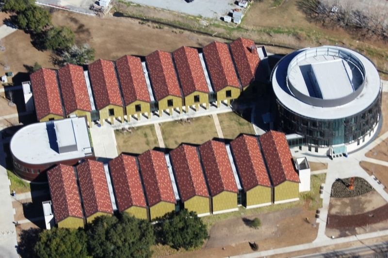 aerial view of commercial roofing job for LSU