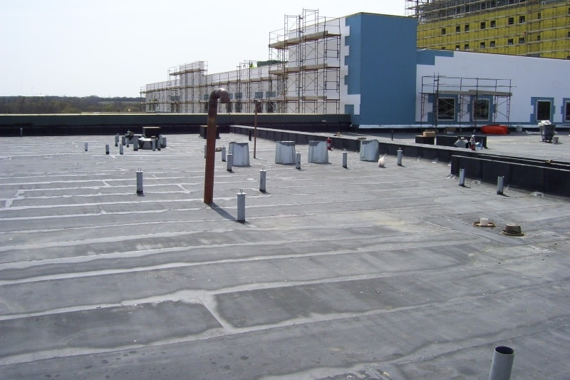a modified bitumen roof on a commercial building