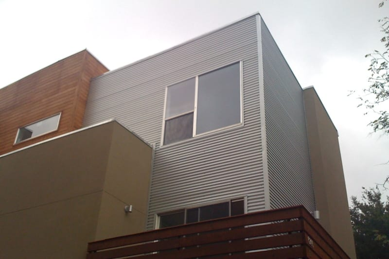 corrugated metal siding on a commercial building